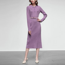 2019 Customize New Design Purple Knitted Dresses Elegant Long Sleeved Mid Dress High Street Luxury High End Women slim Dresses(China)