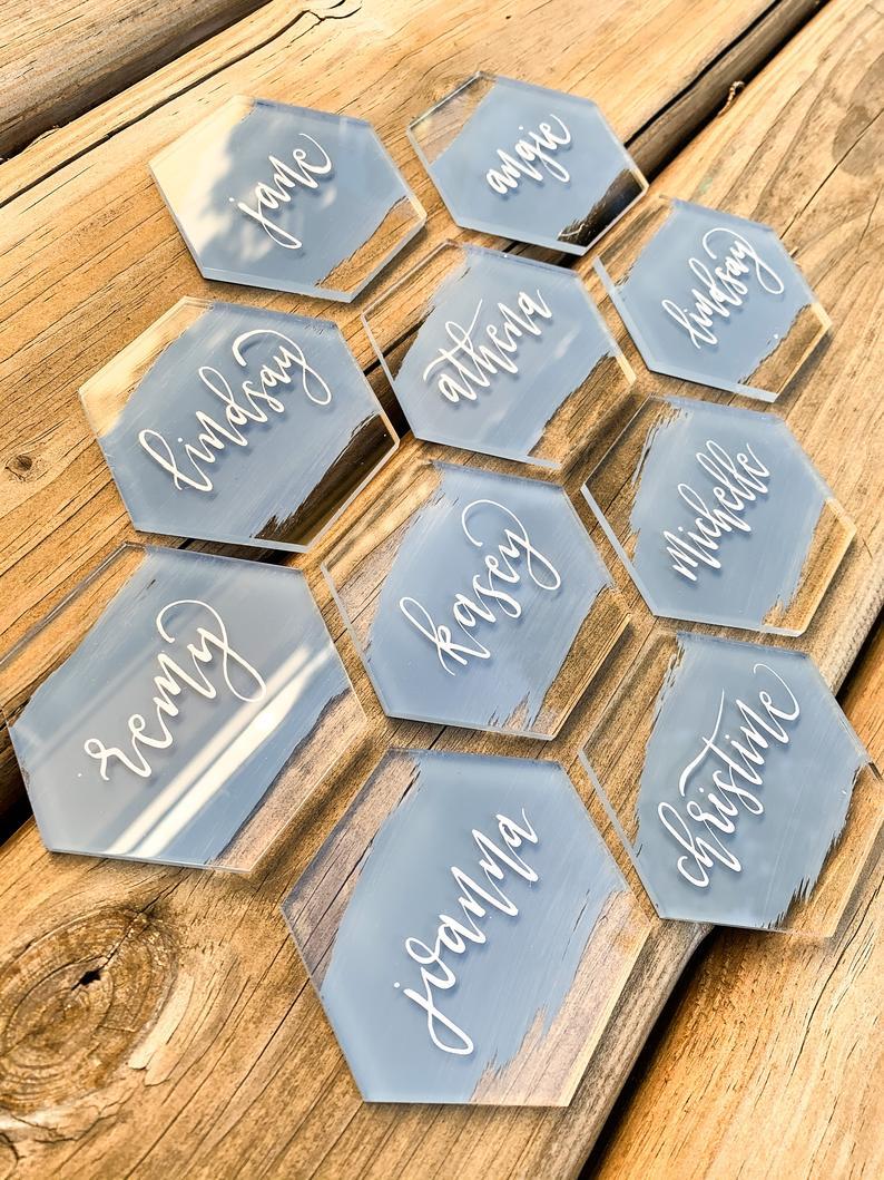 27pcs Custom Wedding Party Decoration Table Unique Acrylic Name Card  Hexagon Shape Cards