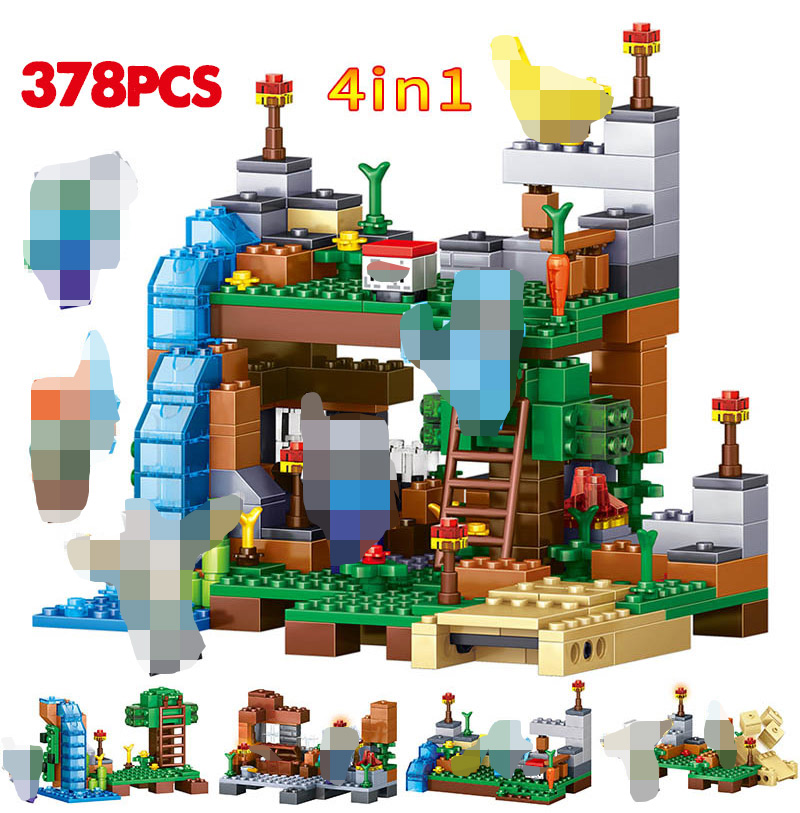 378 Pcs Waterfall 4 IN 1 Building Blocks Compatible  City DIY Garden Action Figures Bricks Toys For Kids Gift