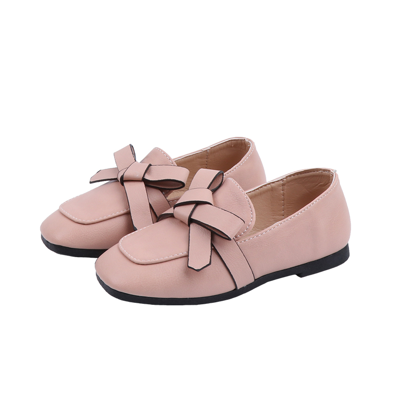 Kids Shoes Girls Loafers Pure Color Soft Leather Shoes Set Of Feet Princess Shoe Spring New Design Casual   SYJ016