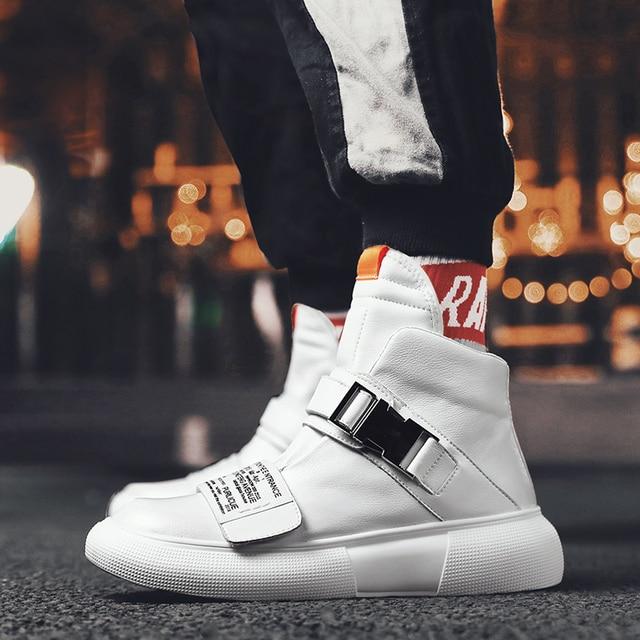 Nuevo estilo de la calle de Hip Hop para hombres zapatillas de deporte de cuero genuino zapatillas de correr para hombre al aire libre cómodo caminando zapatos deportivos hombres zapatos botas 6