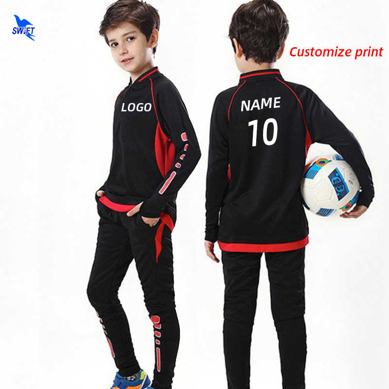 Customize Kids Adult Soccer Training Tracksuits Autumn Winter Football Jerseys Kit Men Boys Futsal Uniforms 2 PCS Sports Suits