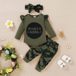 Одежда для маленьких девочек; Одежда для маленьких мальчиков; Комбинезон с длинными рукавами и надписью «Daddys» для девочек; Камуфляжная юбк...
