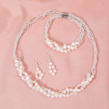 DMCSFP008 6-7mm Natural Freshwater Pearl Jewelry Sets Handmade Necklace Earrings Bracelet for Women Bridal Gift(China)