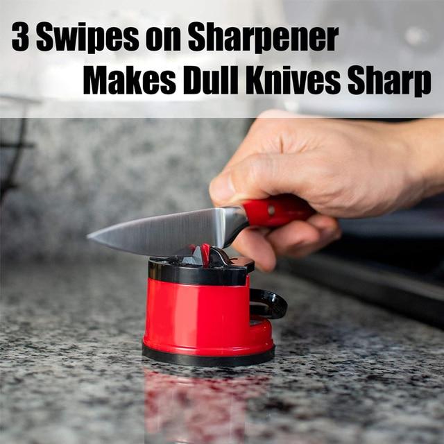 Kitchen Sharpener Safe Knife Scissors Blade Grinder Stone Knives  Sharpening Tungsten Diamond Sharpener Tool with Suction Pad 2