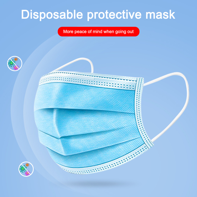 50 Pcs In Stock Anti-Pollution Face Mouth Mask Dust Filter Safety 3 Layer Disposable Elastic Ear Loop Dust Protection Face Masks 1