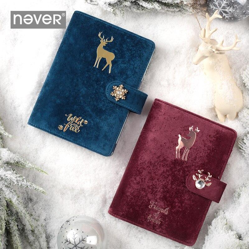 Never Christmas 2020 New Year Agenda Planner Organizer Weekly Plan Binder Binding Notebooks Cute Deer Girl Diary Gift Stationery