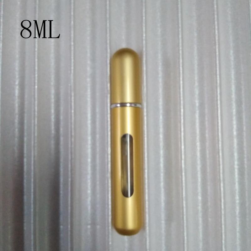 5 мл Путешествия многоразового Conveniet пустой парфюмерные флаконы с распылителем ароматизатор спрей случае parfum безвоздушный насос косметический контейнер - Цвет: 8ml champagne gold