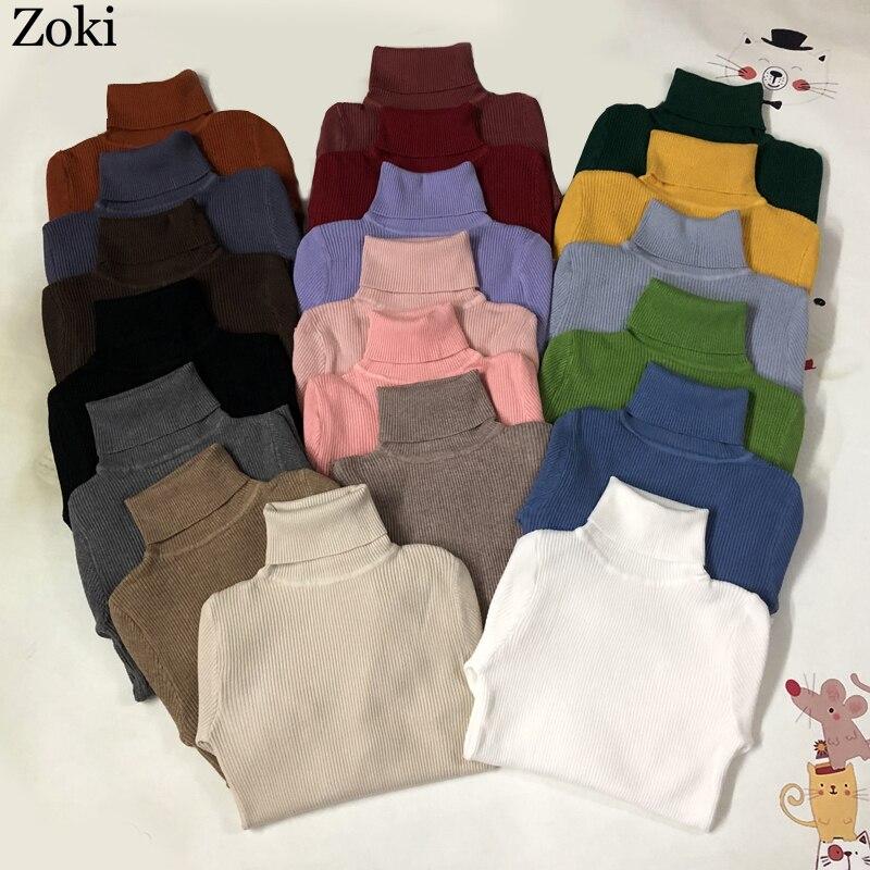 Женский вязаный свитер с высоким воротом Zoki, Мягкий Вязаный джемпер с длинным рукавом на осень и зиму 2020      АлиЭкспресс