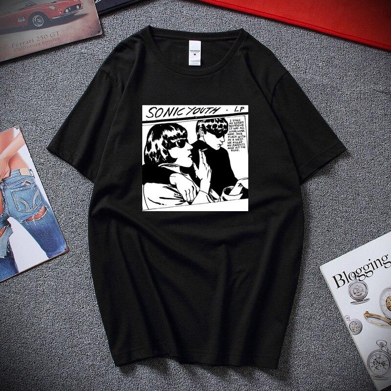 Verão Harajuku Fresco Dos Desenhos Animados do Sonic Youth Goo Ficção Camisa Unisex T Premium Algodão Mangas Curtas T-shirt Top Camiseta masculina