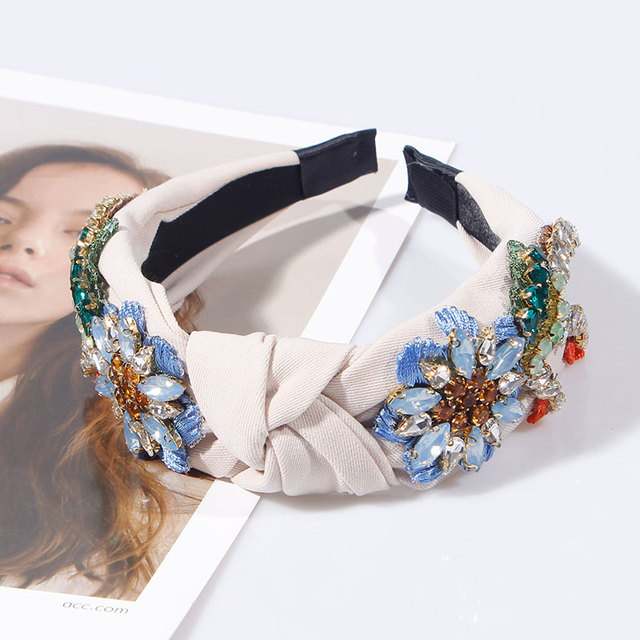 Embroidery Flower Crystal Rhinestone Top Knotted Hairbands 3
