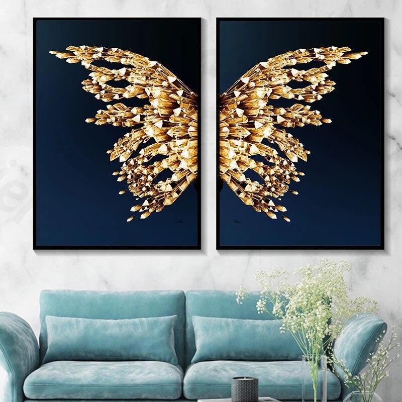 Купить абстрактный холст плакат крылья бабочки современное настенное