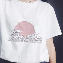 Женская футболка с мультяшным принтом заката над морем Корейская