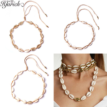 Hfarich Colorful Cute Sea Shell Necklace Female Jewelry Bohemian Beach Tassel Choker Shell Gold Chain For Women Kids Girl Bijoux цена