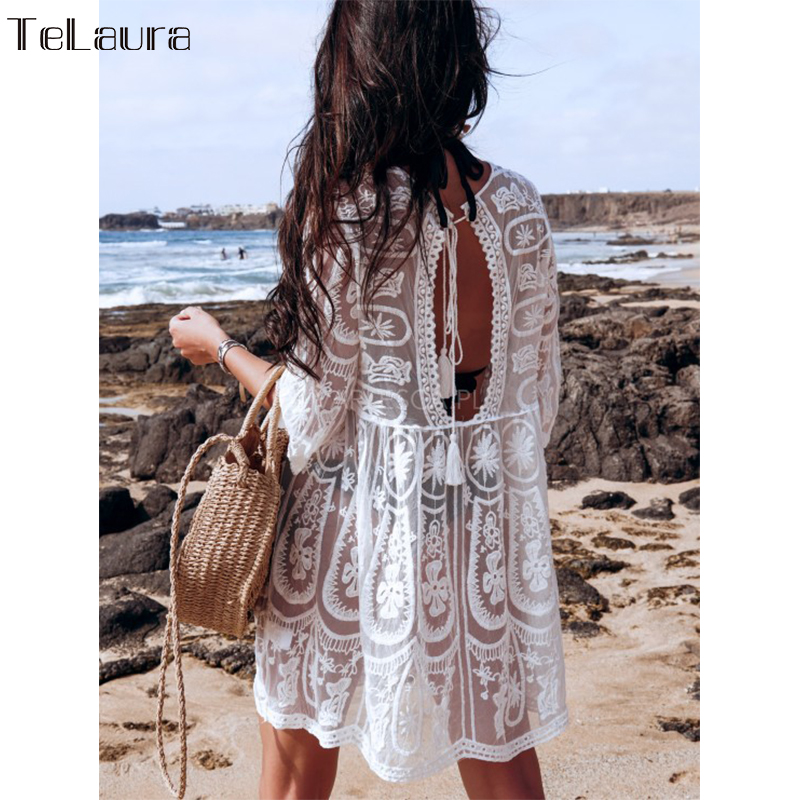 Swimsuit White Bikini Cover-Up Dress Women Beach-Wear Summer New title=