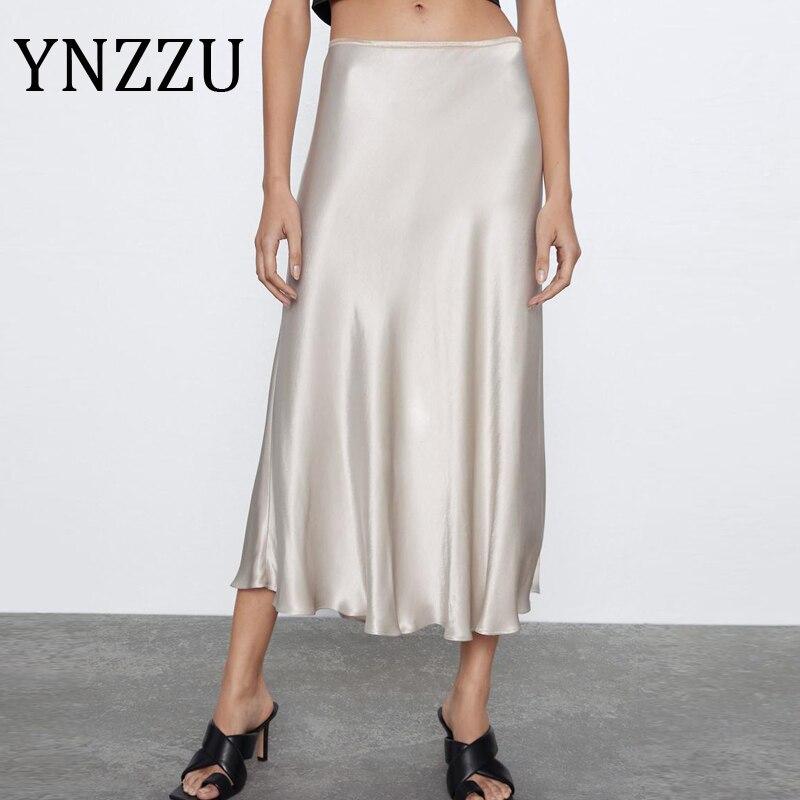 YNZZU Elegant Silk Satin Midi Skirts Women 2020 Summer Glossy High Waist Female A Line Skirts High Quality AB313