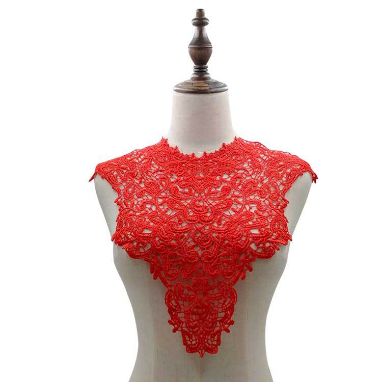 Off Embroidery Big Flowers Lace Neckline Fabric DIY Collar Lace Fabrics For Sewing Supplies Crafts