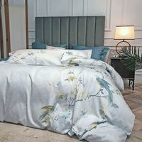 Papa&Mima Silkly Egyptian Cotton Bedding Set Double Full Queen King Size Bedlinens Flat Fitted Sheet Pillowcase Duvet Cover Set
