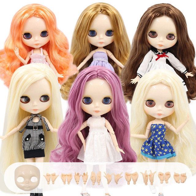 ICY Blyth Doll Nude 1/6 Joint Body 30CM BJD toys white shiny face with extra hands AB and faceplate DIY Fashion Dolls girl gift