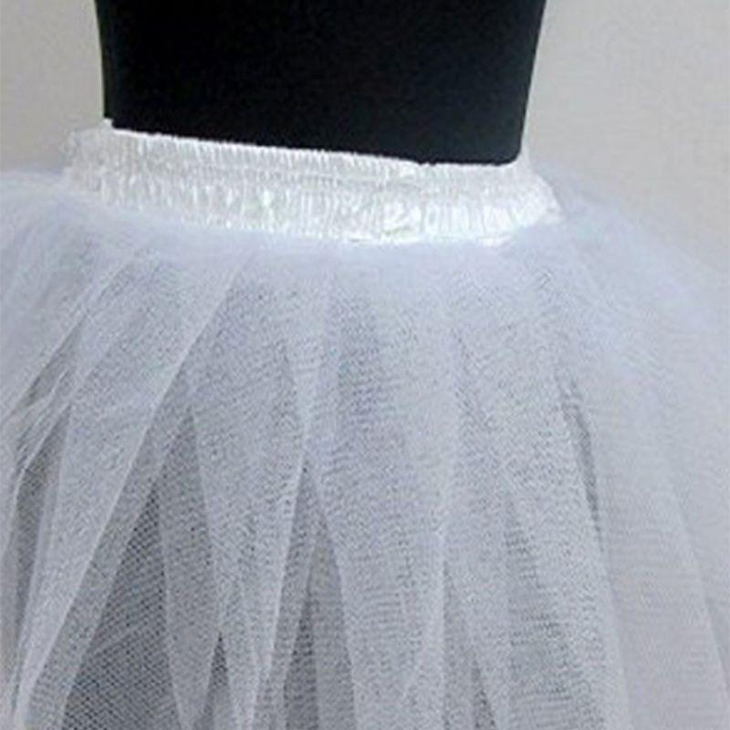 Women Women Children White Hard Mesh Short Petticoat Double Layers Girl Lolita Tutu Skirt Semi See-Through Wedding Dress
