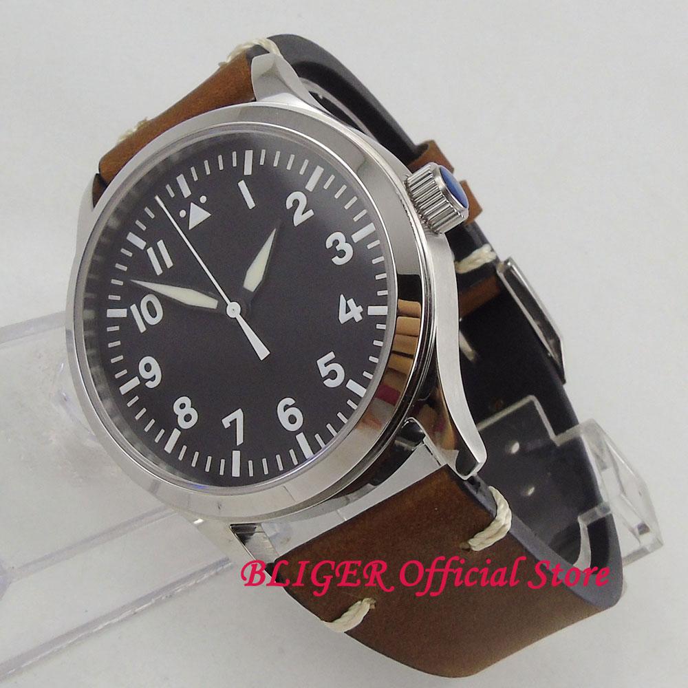 Klasyczne 42mm Sapphire szkło biała sterylne Dial cyframi rzymskimi niebieski ręcznie ST automatyczny ruch zegarek męski mężczyzna zegarek na rękę w Zegarki mechaniczne od Zegarki na  Grupa 3