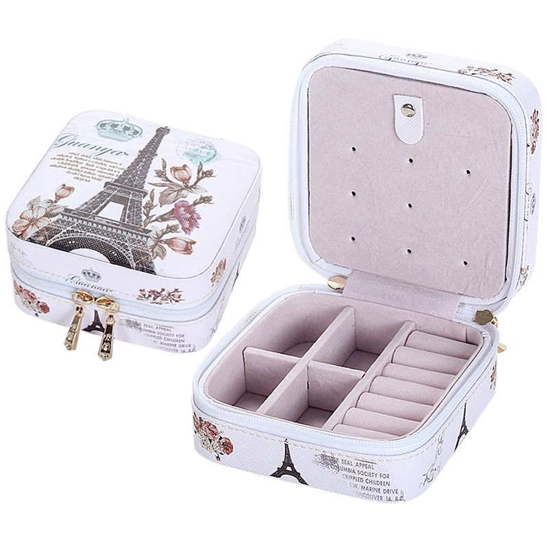 Fashion Women's Gift Mini Jewelry Box Travel Makeup Organizer Leather Casket Small Jewelry Box Necklace Case Rings Lady Bag