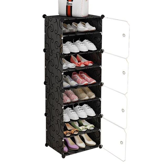 Diy 신발 주최자 신발 랙 복도 공간 절약 스틸 튜브 프레임 multiuse 모듈 형 옷장 플라스틱 캐비닛 문