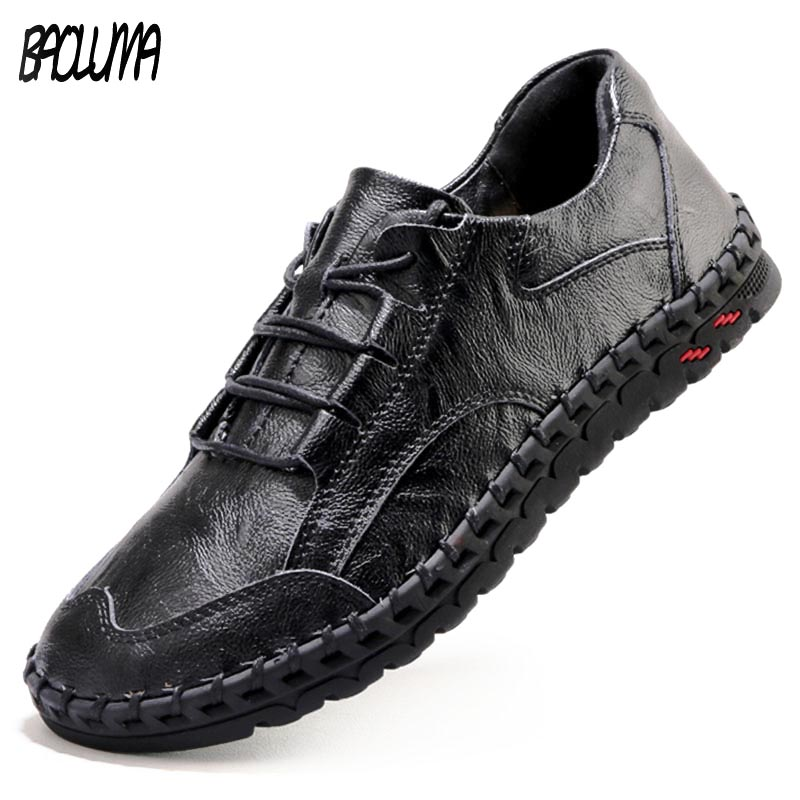Men Leather Casual Shoes Men Luxury Brand Design Handmade Loafers Men Casual Shoes Genuine Leather Moccasin Boat Sneakers Oxford