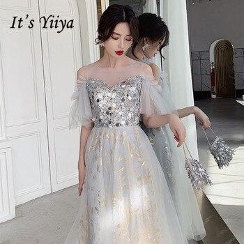 It's Yiiya Sparkle Prom Dresses Silver Gray Off Shoulder Women Party Gowns Elegant Formal Vestidos Tea-Length Formal Dress K275