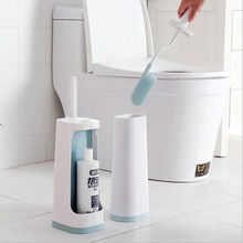 Flexible TPR Toilet Brush With Holder Long Handle Double Sided Cleaning Deep Cleaner Tool Set Bathroom Accessory