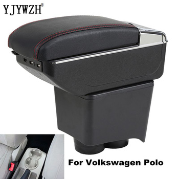 цена на For volkswagen armrest polo arm rest box 2002-2009 central content Storage box USB Charging with cup holder ashtray accessories