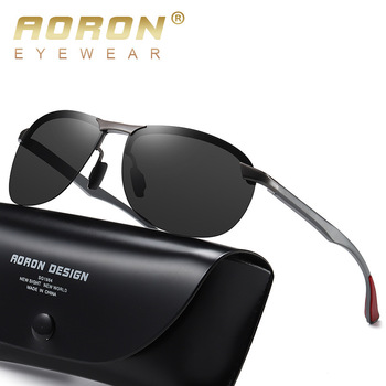 AORON New Aluminum Frame sunglasses men's polarized Sun Glasses Driver Driving Glasses UV400 aoron photochromic polarized mens sunglasses classic rectangle sun glasses uv400 aluminum magnesium leg sunglasses