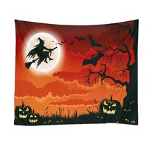 Halloween Tapestry Pumpkins Witch pumpkin Print Wall Hanging Tapestry Art Home Decoration Wall Tapestry round brick print waterproof wall art tapestry
