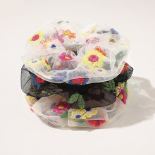 Flower Embroidery Hair Scrunchies Girls Sweet Elastic Hair Bands Hair Accessories Hair Ties Rope Headwear Summer Headwear Hot(China)