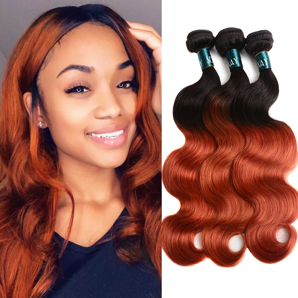 Sexay Ombre Brazilian Human Hair 3/4 Bundles Lot 1B 350 Golden Pre-Colored Brazillian BodyWave Remy Human Hair Weave Bundles