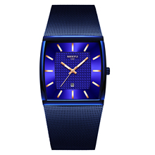цена на Relogio Masculino NIBOSI Luxury Brand Watch Men Stainless Steel Mesh Band Quartz Sport Men Watch Chronograph Square Watch Clock