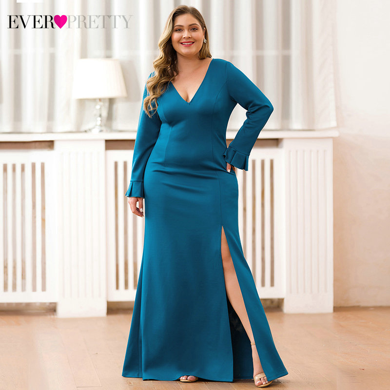 Sexy Teal Mermaid Prom Dresses V-Neck High Split Long Sleeve Elegant Women Formal Party Dresses 1