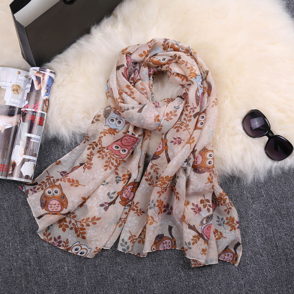 2020 New Autumn Winter Women Ladies Owl Print Pattern Lace Long Scarf Warm Wrap Shawl  Fashion Lady Scarves Accessories#11