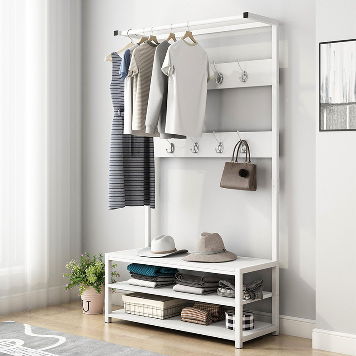 170cm Standing Coat Rack Shelf Multifunction Clothes Shoes Bench Hanger Hooks Storage Holder Living Room Furniture 60/80cm