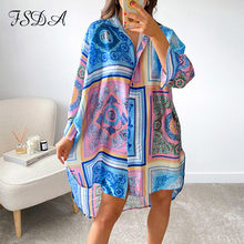 FSDA 2021 Print Long Sleeve Shirt Dress Women Loose Beach V Neck Sexy Y2K Blue Summer Green Casual Dresses Holiday Vintage Party