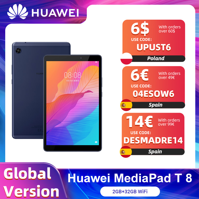 Versione globale HUAWEI MatePad T8 2GB 32GB WIFI Tablet PC 8.0 pollici facesblocca 5100mAh supporto microSD Card Android10 T8 No Google