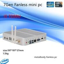 كمبيوتر مصغر 7th Gen Intel Kaby Lake Core i5 7200U ويندوز 10 HDMI + VGA كمبيوتر تجاري minipc 4K HTPC إنتل HD الرسومات 620 بدون مروحة