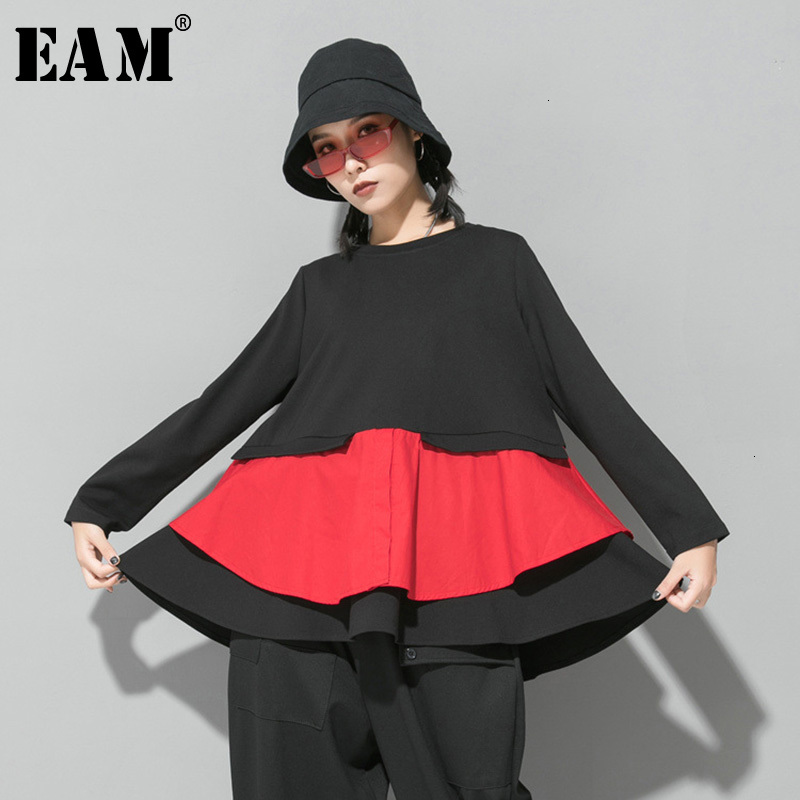 [EAM] Women Red Split Joint Ruffles Temperament T-shirt New Round Neck Long Sleeve  Fashion Tide  Spring Autumn 2020 1D722