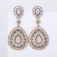 Hollow kolczyki w kształcie kropli wody moda kobiety wesele lub imprezę 925 biżuteria srebrny Pin AAA CZ kamień ręcznie XIUMEIYIZU marki