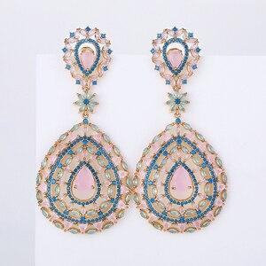 Image 1 - Hollow kolczyki w kształcie kropli wody moda kobiety wesele lub imprezę 925 biżuteria srebrny Pin AAA CZ kamień ręcznie XIUMEIYIZU marki