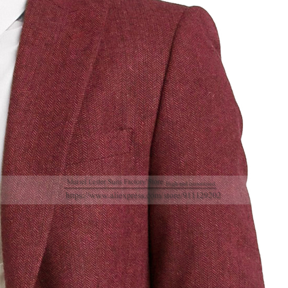 wedding : Lastest Coat Designs With Pants Classic Grey Herringbone Wedding Suits For Mens 2021 Smoking Business Groomsman Tweed Blazer