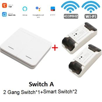 WiFi RF DIY Wifi Smart Switch Tuya Smart Breaker Wireless Switch Controller Light RF 433Mhz Wall DIY Relay Timer 10