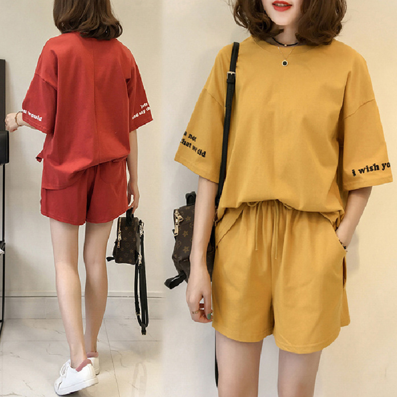 New Sports Fashion Women Suits Female Shorts Short Sleeve T-shirt Two-piece Summer New Casual Outfits