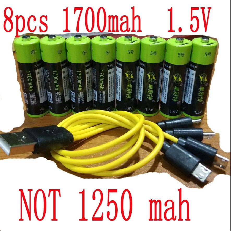 Литий-полимерная аккумуляторная батарея ZNTER, 8 шт., 1,5 В, 2550 МВтч, USB, AA, 1,5 В, 1700 мА/ч, литий-ионная usb батарея с usb-кабелем