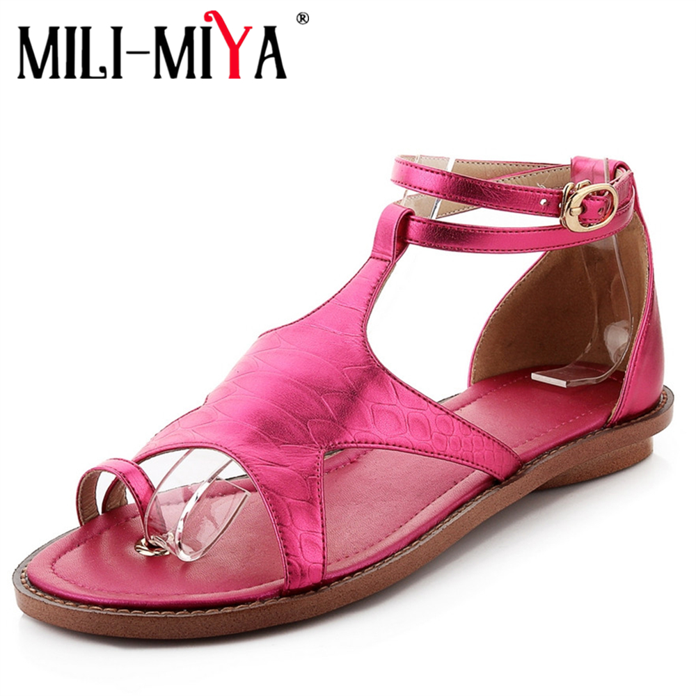 MILI-MIYA Gladiator Women Sandals Cow Leather Low Heels Round Toe Cover Heels  Buckle Strap Casual Shoes Large Size 34-40